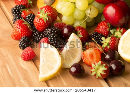 fruits on the wooden table
