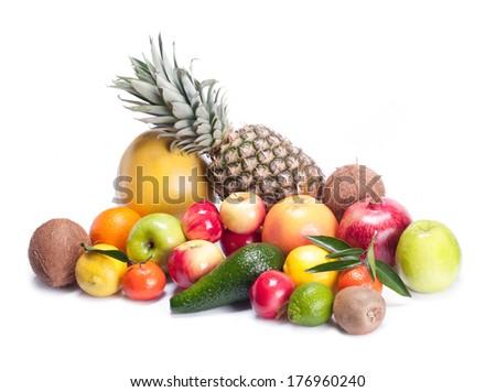 fruits on white background - stock photo