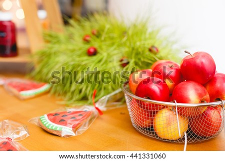 Fruits on wooden background, apples, Eco-style