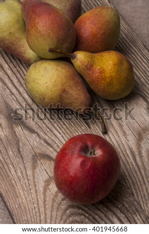 Fruits: pears and apple - stock photo