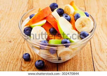 Fruits salad with blueberry - stock photo