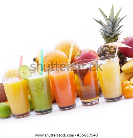 Fruits smoothies, summer cool drinks top view macro isolated. Selective focus, soft light,  - stock photo
