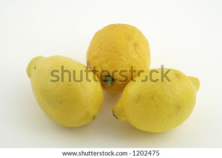 fruits three lemons isolated