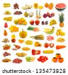 Fruits, vegetables, yellow and red. With beta carotene. - stock photo