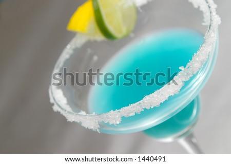 Fruity blue margarita. - stock photo