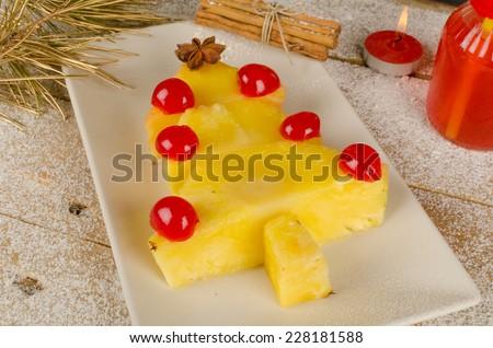 Fruity Christmas tree, a healthy kid dessert - stock photo