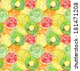 Fruity composition. seamless watercolor background. - stock