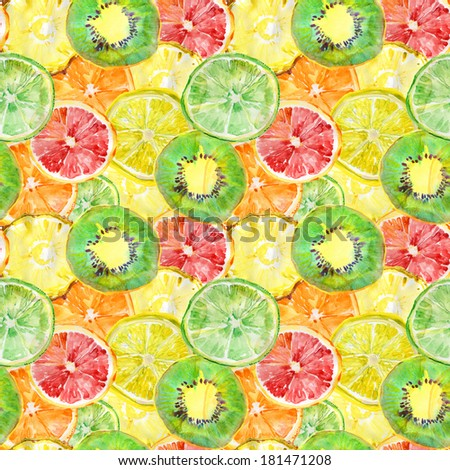 Fruity composition. seamless watercolor background. - stock photo