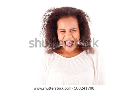 Frustrated and angry african woman over white background - stock photo