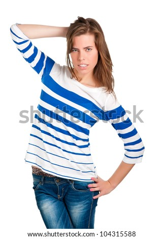 Frustrated and confused woman with hand in her head - stock photo