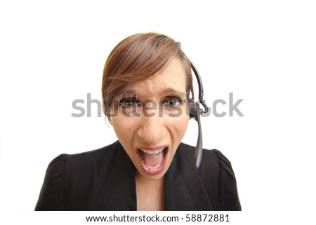 Frustrated and screaming woman telemarketer - stock photo