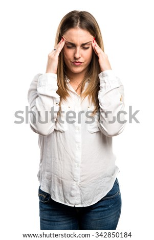 frustrated Blonde woman  - stock photo