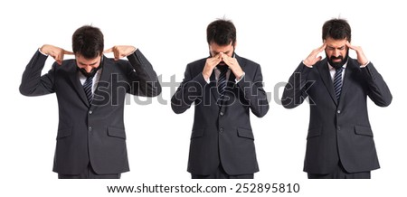 frustrated Business men over isolated white background - stock photo