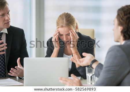 Frustrated business people sitting at the table in office  arguing while  discussing project  Their. Frustration Stock Images  Royalty Free Images   Vectors   Shutterstock