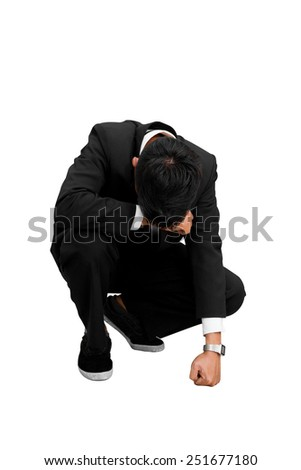 Frustrated businessman and Bankruptcy - stock photo