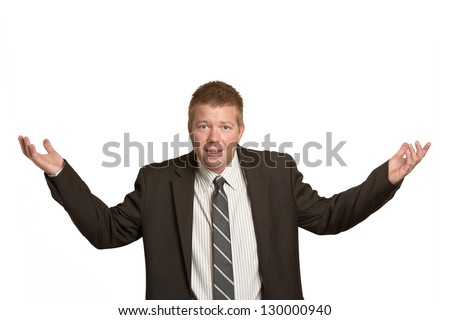 Frustrated businessman expression with copyspace - stock photo
