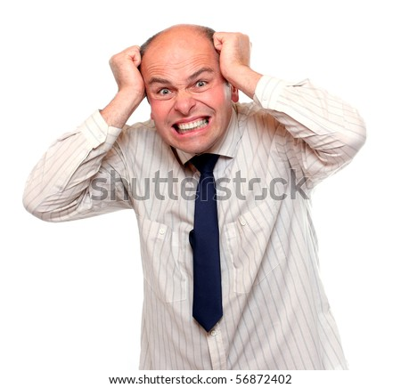 Frustrated businessman on white background - stock photo