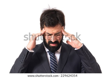 frustrated businessman over isolated white background - stock photo