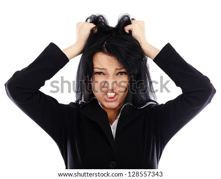 Frustrated businesswoman in closeup pose isolated on white background