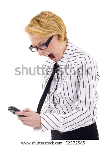 Frustrated Businesswoman with mobile phone. Isolated - stock photo