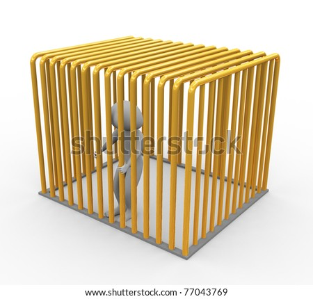 Frustrated 3d man in golden jail