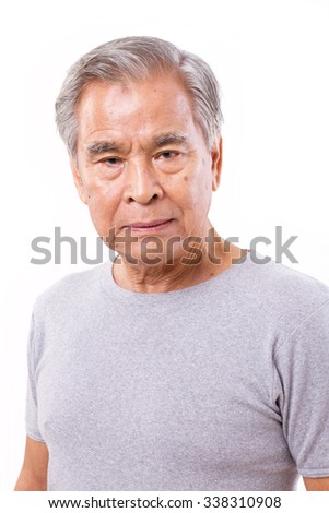 frustrated, depressed senior old man - stock photo