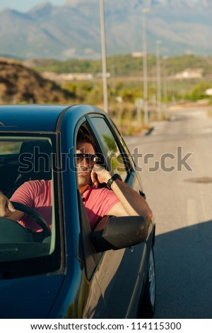 Frustrated driver waiting at some kind of traffic jam - stock photo