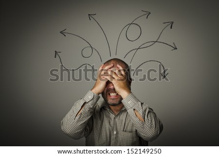 Frustrated. Expressions, feelings and moods. Man solving a problem. - stock photo