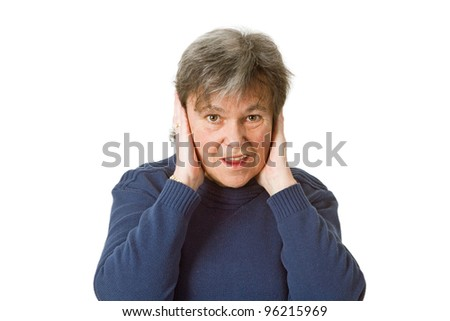 Frustrated female senior man closing her ears with her hands -  isolated on white background - stock photo