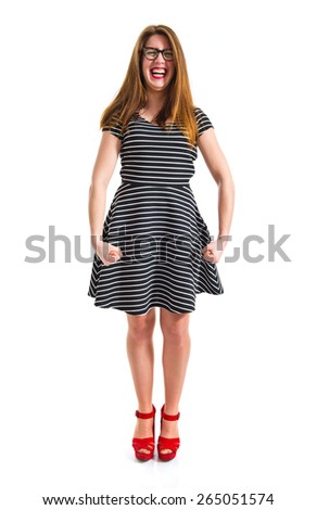 frustrated girl over white background