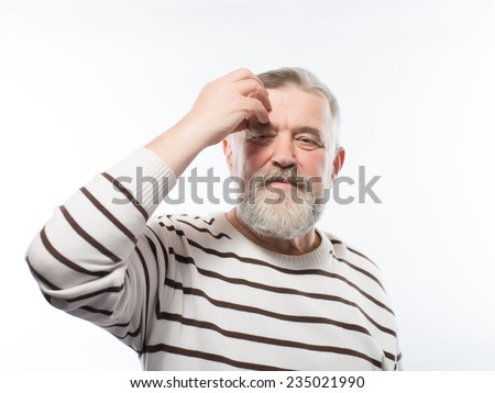 frustrated grandfather headache - stock photo