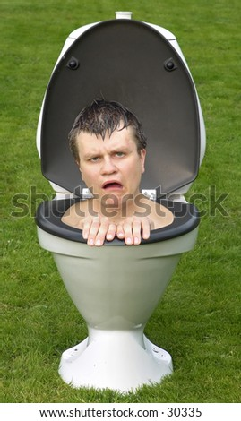 Frustrated man in toilet....