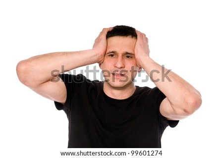 frustrated man put his hands on his head isolated on white background - stock photo