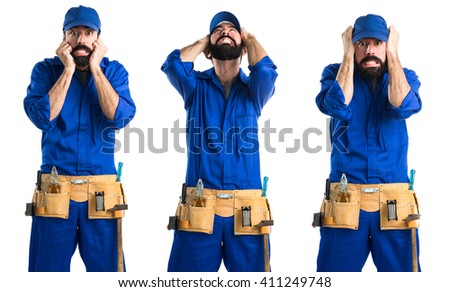 frustrated plumber - stock photo