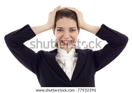 Frustrated pretty woman with hands on her head isolated over white background - stock photo