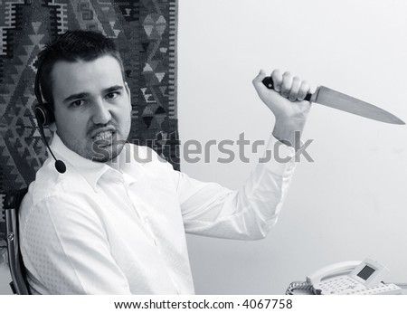 frustrated telephone support operator - stock photo