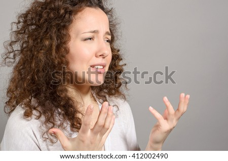 Frustrated woman cry mouth open angry scream female depressed - stock photo