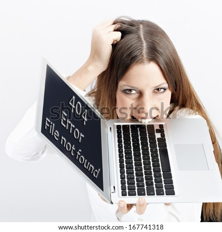 Frustrated woman with laptop, page not found.