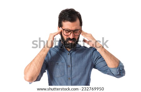 frustrated young hipster man over white background