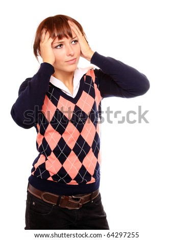 Frustrated young woman with headache on white background. - stock photo