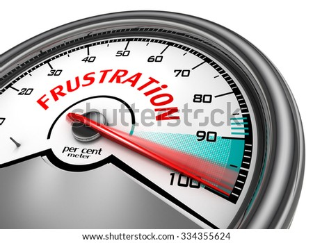 Frustration to hundred per cent conceptual meter, isolated on white background - stock photo