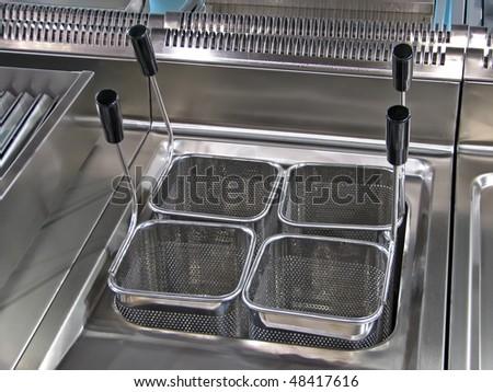 fry pan. kitchen element. kitchen tool. deep fryer. - stock photo
