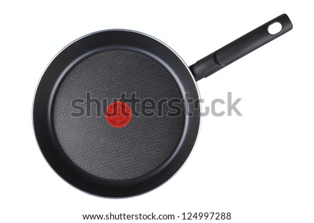 Frying pan on a white background - stock photo