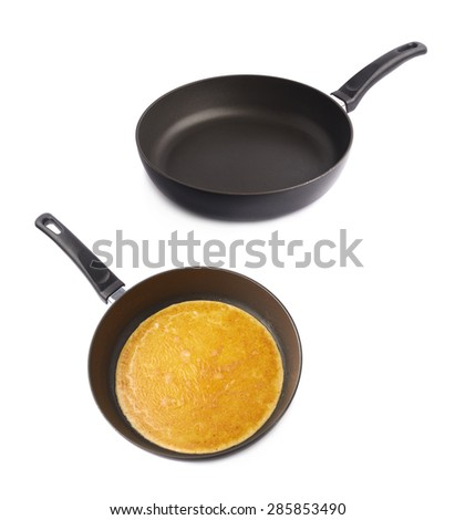 Frying pan with and without omelette scrabled eggs, set of two images isolated over the white background - stock photo