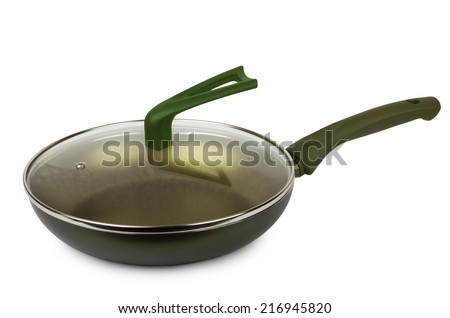 Frying pan with ceramic coating and glass lid isolated on white background