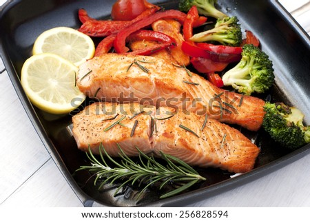Frying pan with two salmon steaks and herbs