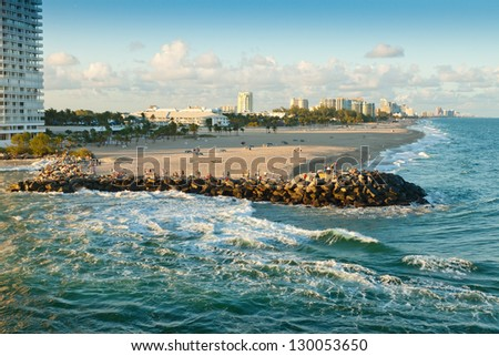 Ft. Lauderale coastline and beach, with city in the background. - stock photo