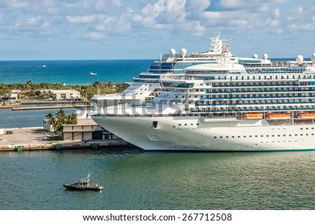 FT. LAUDERDALE, FL - JAN. 12, 2013:  Cruise ships anchored in Port Everglades, one of the biggest cruise ship ports in the United States. - stock photo