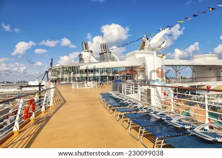 FT. LAUDERDALE, FL - JAN. 12, 2013:  Royal Caribbean's Oasis of the Seas, in Port Everglades, as passengers prepare for a luxury seven day Caribbean cruise. - stock photo