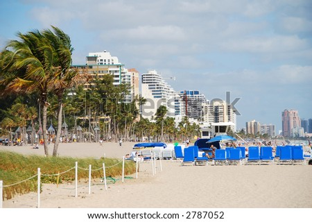 Ft Lauderdale, Florida beach front area - stock photo